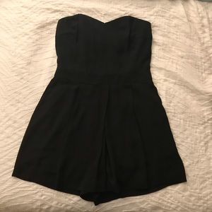 Strapless black mini romper